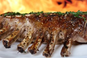 rack of lamb on plate